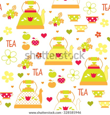 cute seamless pattern with colorful tea cups vector illustration - stock vector