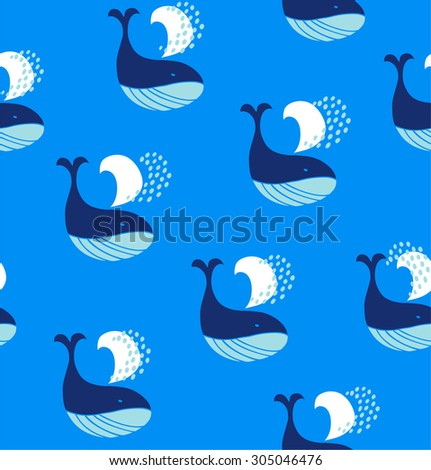 Cute seamless pattern with decorative whales. Vector marine background - stock vector