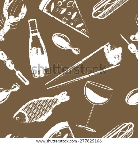 Cute seamless pattern with fast food Vector - stock vector