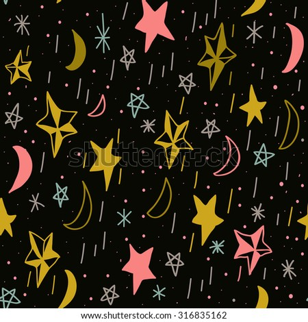 Cute seamless pattern with hand drawn moons and stars. Editable vector illustration. Dark background. Can be used as decoration for the gift boxes, wallpapers, backgrounds, web sites. - stock vector