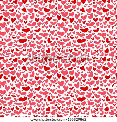Cute seamless pattern with hearts - stock vector
