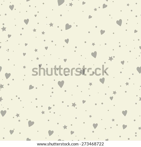 cute seamless pattern with hearts and stars - stock vector