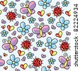 cute seamless pattern with ladybirds and butterflies - stock vector