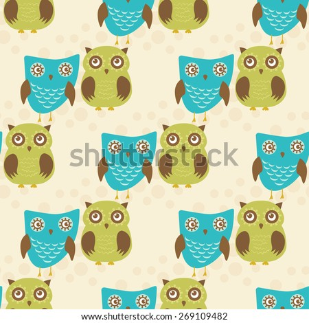 Cute seamless pattern with owls couple. Blue and green owls. Vector illustration. - stock vector