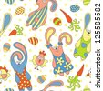 Cute seamless pattern with rabbits, carrots and chickens - stock vector
