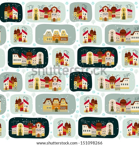 Cute seamless pattern with road and cartoon houses in winter - stock vector