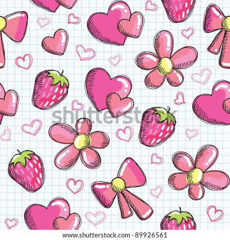cute seamless pattern with romantic elements, vector