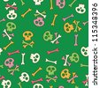 Cute seamless pattern with skulls - stock vector