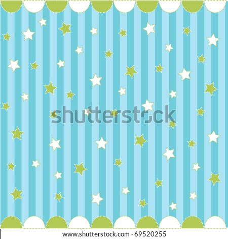 Cute seamless pattern with stars , baby card - stock vector