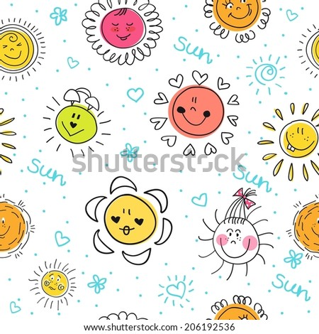 Cute seamless pattern with suns.