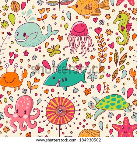 Cute seamless pattern with underwater live: fishes, whale, crab, starfish, octopus, jellyfish, sea horse and shark. Vector tropical background. The sea travel design. - stock vector