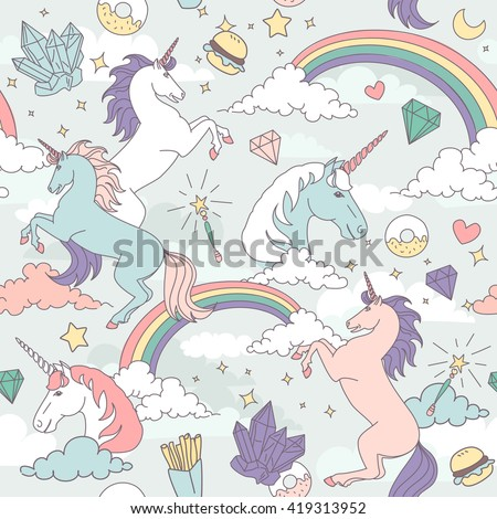 Cute Seamless pattern with unicorns, rainbows, clouds, stars and crystals  - stock vector