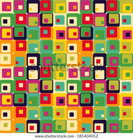 Cute seamless retro pattern of squares.  - stock vector