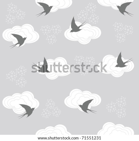Cute seamless swallow and cloud pattern - stock vector