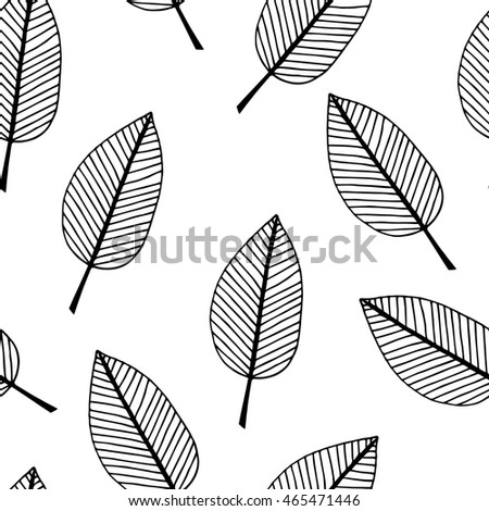 Cute seamless texture with perfect natural leaves. Hand drawn botanical background.