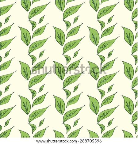 Cute seamless texture with perfect natural leaves. Hand drawn botanical background. Use this pattern for wedding invitations, wrapping or as a background on your website.