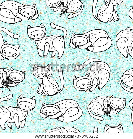 cute seamless vector pattern with kitty cat and dots pattern