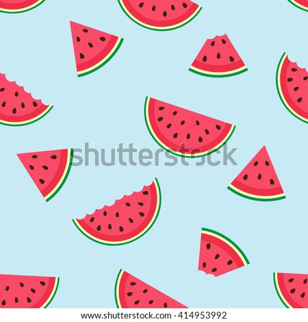 Cute seamless vector pattern with watermelon slices - stock vector