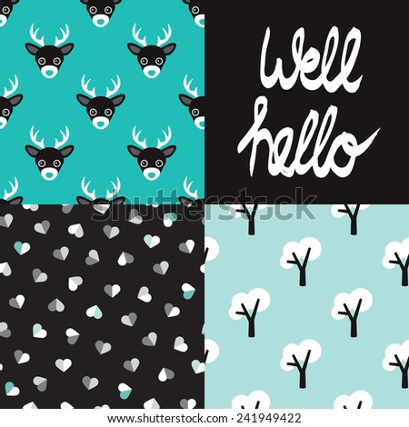 Cute seamless winter deer animals hearts and tree forest background pattern and well hello quirky typography paper design in vector - stock vector