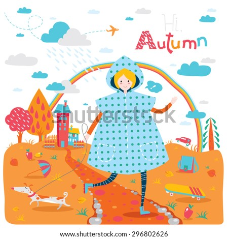 Cute seasonal banner with happy jumping teenage girl in raincoat and dog. Autumn landscape with houses and trees. Vector illustration for sticker, bookmark, greeting card or other childish accessories