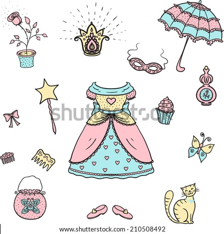 Cute set for a princess. Vector illustration.