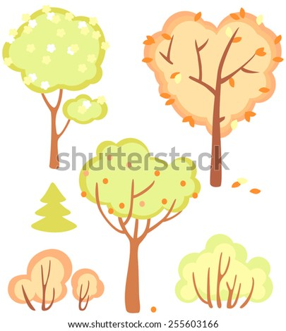 cute set of bushes and trees