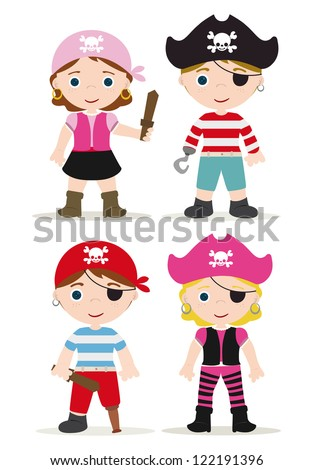 cute set of children pirates - stock vector