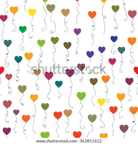Cute set of colorful heart shaped balloons isolated on white. Hearts are randomly arranged in the seamless pattern design. - stock vector