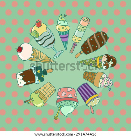 Cute set of colorful tasty cartoon ice cream.  Collection of ice cream with sprinkles and fruits. Ideal elements for your summer desert menu. Doodle vector organized in groups for easy editing.  - stock vector