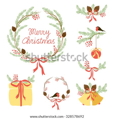 Cute set of hand drawn Christmas symbols as festive wreath, bells, present box, fir tree branches with rowan berries and cones for your decoration - stock vector