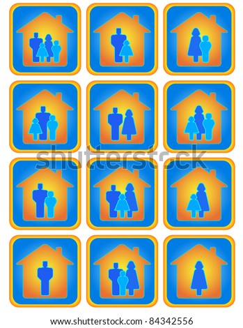 Cute set of many positive family button - stock vector