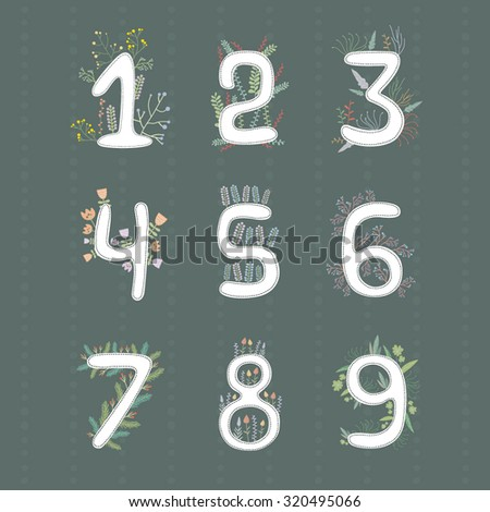 Cute set of numbers. Floral objects on dark background. Learning to count. Colorful templates for greeting cards. - stock vector
