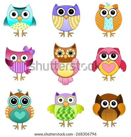 Cute Set of Owls Vector - stock vector