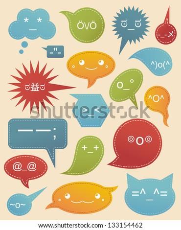 Cute Set Unicode Smiles Stock Vector 133154462 Shutterstock