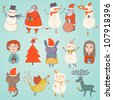 Cute Set of Vector christmas characters - stock photo