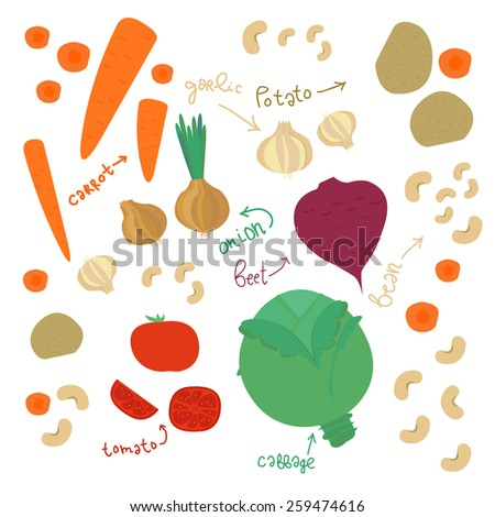 Cute set with different vegetables. Vector illustration. - stock vector