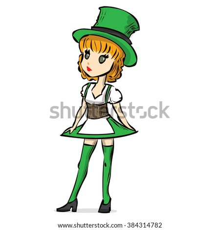 Cute sexy girl in a leprechaun costume. Hand drawn cartoon vector illustration.  sc 1 st  Shutterstock & Cute Sexy Girl Leprechaun Costume Hand Stock Vector 384314782 ...