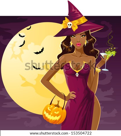 Cute sexy witch on a party - stock vector
