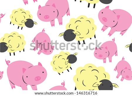 Cute Sheep and Pig Seamless Pattern - stock vector