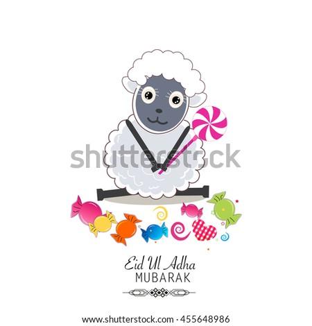 Cute sheep vector illustration. Colorful candies. Islamic Festival of Sacrifice, Eid-Al-Adha celebration greeting card. - stock vector