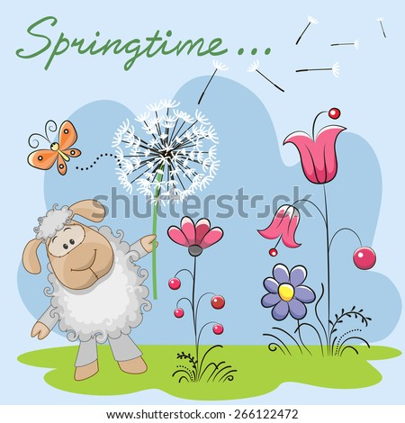 Cute Sheep with dandelion on a meadow  - stock vector