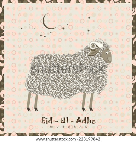 Cute sheep with stars for Muslim community festival Eid-Ul-Adha celebrations. Vintage style. - stock vector