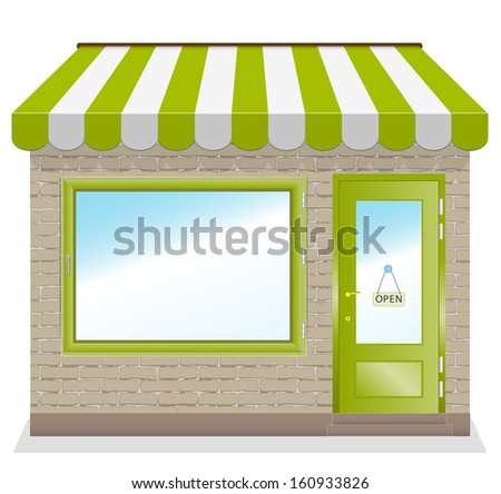 Cute shop icon with green awnings brick wall. Illustration. - stock vector