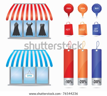 Cute shop icons - stock vector
