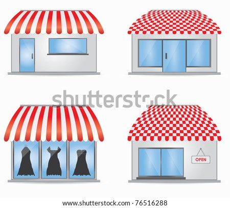 Cute shop icons with red awnings - stock vector