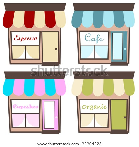Cute Shoppes - stock vector