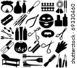 Cute Silhouettes vector Icons collection as design elements, a set of Beauty tools, Spa Icons, Cosmetics - stock vector