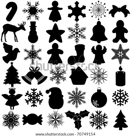 Cute Silhouettes vector Icons collection as design elements, a set of Snowflake Christmas Festival symbol with angel, bell, gingerbread, ball, Santa Claus  isolated on white - stock vector