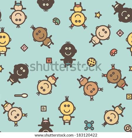 Cute simple children's seamless pattern - stock vector