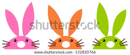Cute simple easter bunnies set isolated on white - stock vector
